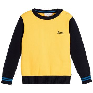 Baby Boys Yellow and Navy Blue Knitted Sweater