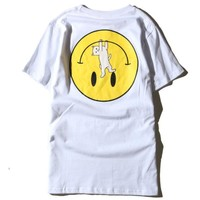 The middle finger cats Smiling face print T-shirt