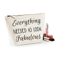 Everything Needed To Look Fabulous Canvas Makeup Bag