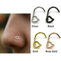 New Arrival Simple Surgical Steel 0.8mm Heart Nose Studs Septum Nose Hooks Bar Pin Nose Rings Body Piercing Jewelry For Women