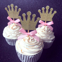 Custom Bow Color&Gold Silver Black Glitter Crown Cupcake Toppers Picks Baby Shower Princess Kids 1st Birthday Party Decorations