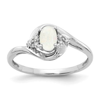 14k White Gold Genuine Oval Opal and Diamond Ring