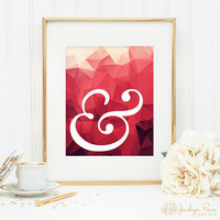 Ampersand print, printable wall art decor, geometric typography print, minimalist art, pink and red art, home decor, digital download JPG