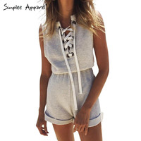 Simplee Apparel One piece girls lace up jumpsuit romper