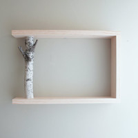 white birch forest wall art/shelf - 18x12x3 .5 - made to order