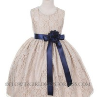 Girls Dress Style 1132- CHAMPAGNE Taffeta and Lace Dress with NAVY Accents
