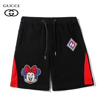 GUCCI Summer Fashion Men Women Casual Mickey Mouse Embroidery Sport Running Shorts