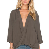 Knot Sisters Luna Blouse in Olive