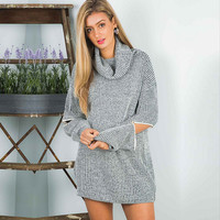 Zippered Sleeve Knitted Sweater