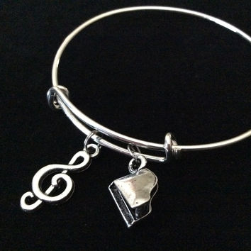Piano 3D Baby Grand Music Charm Expandable Bracelet Adjustable Bangle Gift Trendy Musician Music teacher Inspired