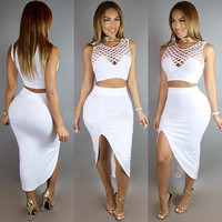 White Cut-Out Crop Top and Skirt Set