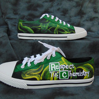 Respect the Chemistry Breaking Bad Walter White Custom Hand Painted Canvas Lace Up Shoes