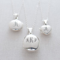 Engraved Sterling Silver Locket Necklace - oval, round or heart