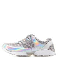 Gray Multi Bamboo Lace-Up Boucle & Hologram Sneakers