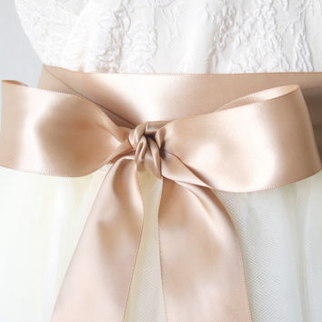 Tan Cafe Latte Satin Ribbon Belt ~ 1.5 Inches Wide