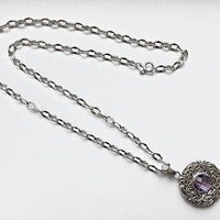 """Romantic Smaller 14K White Gold 16""""  Necklace,  Faceted Round Amethyst Stone in Byzantine Pendant, Bridal, Anniversary, February Birthday"""