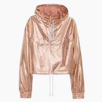 Rose Gold Metallic Crop Hoodie