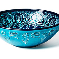 Hand-Painted Serving Bowl, Turquoise