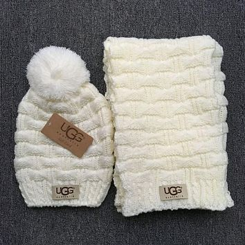 """UGG"" Autumn Winter Warm Women Hairball Hat Knitting Cap Hat Scarf Two Piece White"