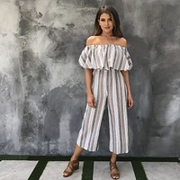 Stripe a Pose Off Shoulder Jumpsuit