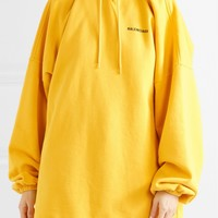 BALENCIAGA Oversized embroidered cotton-blend jersey hooded top