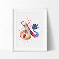 Milotic, Pokemon Watercolor Art Print
