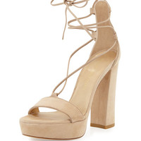 Wrap-It Suede Chunky-Heel Sandal, Beach
