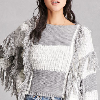 Fringed Colorblock Sweater