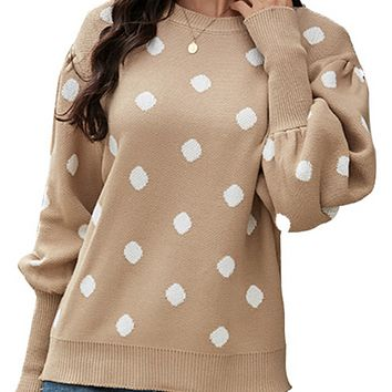 New hot sale polka dot printing casual knitted sweater women
