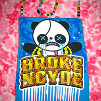 ON SALE - Zombie Panda - Purse - Upcycled - OOAK - w/ Necklace
