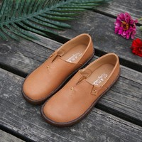 Pure Color Slip On Retro Flat Loafers For Women