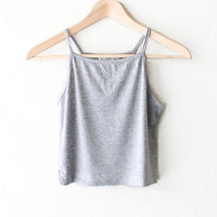 Knit Cami Crop Top - Heather Grey