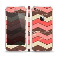 The Scratched Coral & Brown Layered Chevron V4 Skin Set for the Apple iPhone 5