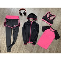Nike Popular Women Comfortable Sports Yoga Vest Coat Top Pants Set Four-Piece Sportswear Black