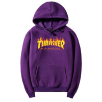 THRASHER Flame hooded Sweater  Men and Women's Clothes purple