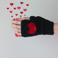 Hand Knit Fingerless Gloves in Black - Dark Red Embroidered Heart - Seamless - Wool Blend