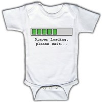 Amazon.com: Diaper loading, please wait - Funny Baby One-piece Bodysuit by Funny Tots: Clothing