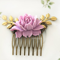 Purple Wedding Lilac Hair Comb Lavender Plum Hair Slide with Gold Leaves Orchid Flowers Bridal Headpiece Bridesmaid Hair Pin Gift