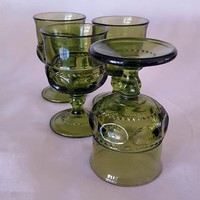 Set of 4 Green Kings Crown Thumbprint Goblets By Tiffin Franciscan
