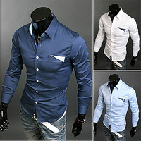 Slim Fit Men Dress Shirt