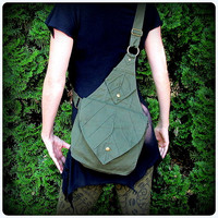 Leaf Bag Backpack Book Messenger Purse ~ Green Brown Black Canvas ~ Elven Forest Legolas LARP Legend of Zelda Link Elf Garb LOTR