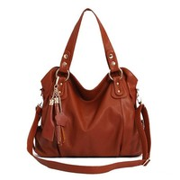 Leather Look Shoulder Bag with Twin Tassle Chain Charms for Women