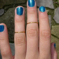 Set of 2 Shiny Brass Rings, Mid Finger, Memory Ring, Knuckle Rings, Pinky, Adjustable