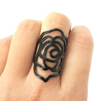 Large Classic Floral Rose Dye Cut Shaped Ring in Black | DOTOLY