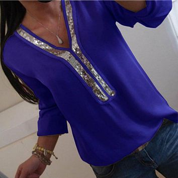 Fashion Women Ladies Long Sleeve Loose Blouse Summer V-Neck Casual Shirts Tops Clothing Sequined Solid Casual Soft Clothes