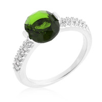 Green Oval Cubic Zirconia Engagement Ring, size : 07