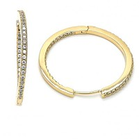 Gold Layered 02.167.0001.30 Huggie Hoop, with White Micro Pave, Polished Finish, Golden Tone