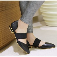 Pointed Toe Elastic Band Ankle Wrap Flat Sandals 7978