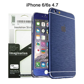 Brushed Metal Full Body Skin Sticker Aluminum Decal Wrap Cover for iPhone 6 / 6s (Blue), Dustproof - Waterproof - Oilproof and fingerprints prevent