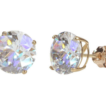 Sterling Silver Rose Gold Plated Round White Cubic Zirconia CZ Stud Earrings
